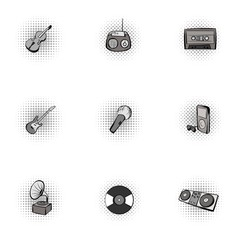 Musical tools icons set, pop-art style