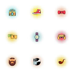 Subculture youth icons set, pop-art style