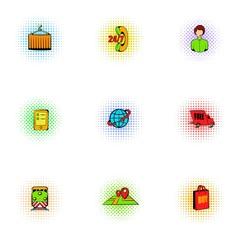 Shipment icons set, pop-art style
