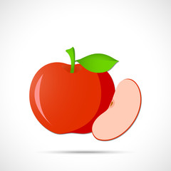 Red apple with leaf and with sliced lobule. Fruit icon.
