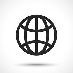 The globe icon. Globe symbol. Earth symbol isolated on white background. Line art style.