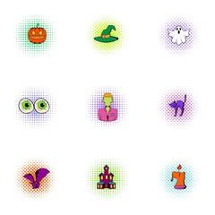 Resurrection of dead icons set, pop-art style