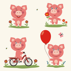 Vector set funny piggy plays in the meadow. Collection isolated piggy on bicycle, with balloon and flower in cartoon style.