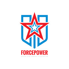 Force power concept sign. Star, shield and stripes - vector logo template illustration. Abstract symbol. Design element.