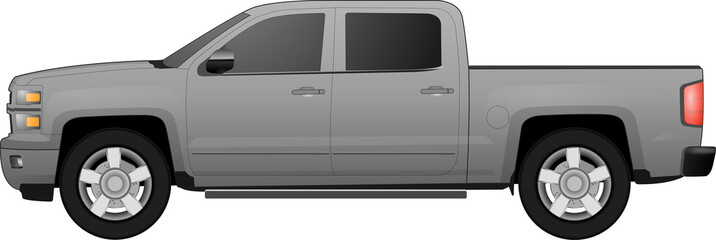 Off-road car on white background. Image of a brown pickup truck in realistic style. Vector illustration