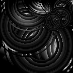 Abstract black and white background with circles. Vector illustration