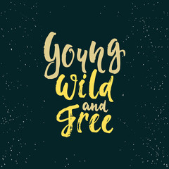 Young, wild and free - lettering calligraphy phrase isolated on the background. Fun brush ink typography for photo overlays, t-shirt print, poster design