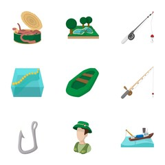 Fishing icons set, cartoon style