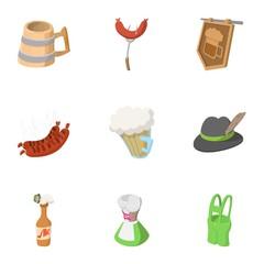 Alcohol icons set, cartoon style