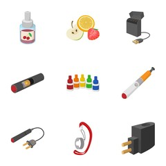 Cigarette icons set, cartoon style
