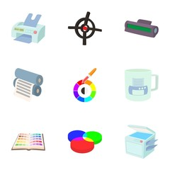 Printing services icons set, cartoon style