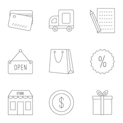Purchase in shop icons set, outline style