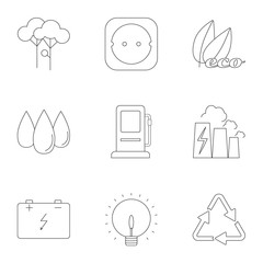 Types of energy icons set, outline style