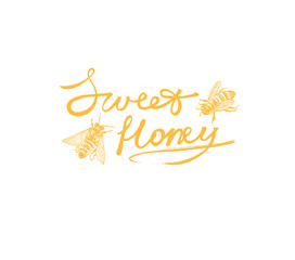 Sweet honey logotype with  bees. Vector hand drawn illustration.