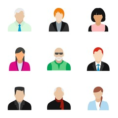 Avatar people icons set, flat style