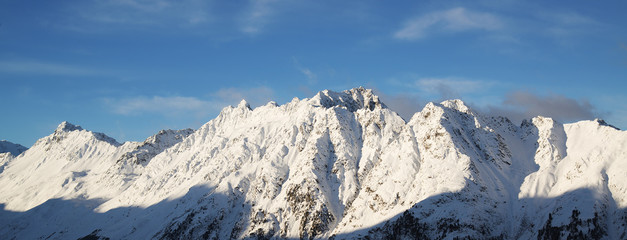 Panorama of the Alps winter morning, Ischgl, Austria