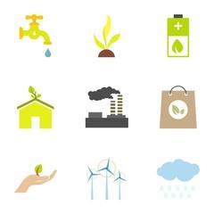 Types of energy icons set, flat style