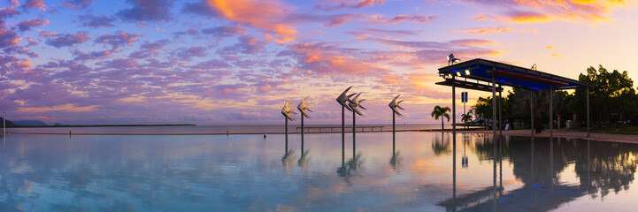 The Cairns Lagoon at sunrise in Tropical North Queensland Wall mural