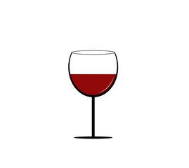 Simle icon of red wine glass