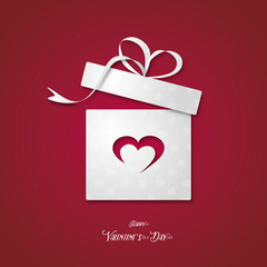 box gift with heart , happy valentine's day - vector romantic present icon ( love , shopping )
