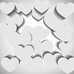 White hearts on white background