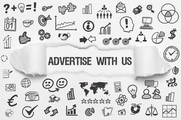 Advertise with Us / weißes Papier mit Symbole
