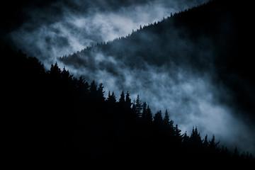 scary foggy mountain at nigh
