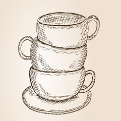 Hand Drawn Sketch Cups Vector Illustration