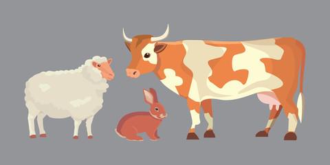 Cartoon Vector Illustration Set of Farm Animals isolated
