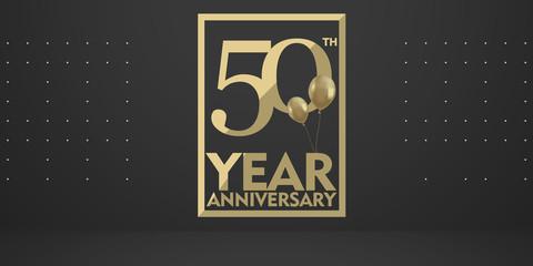 50th year anniversary gold typography logo