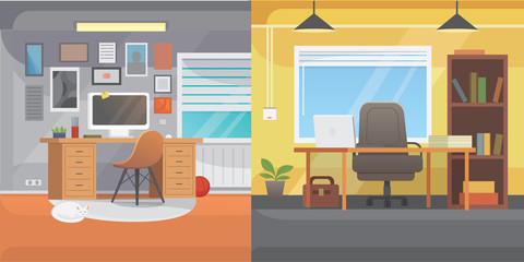 Office interiors horizontal banners. Bussines workplace with computer and table