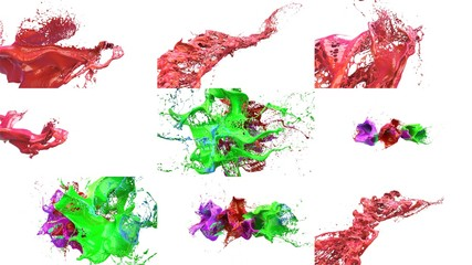 inks splashes in white background 3d illustration set