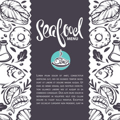 sea food background, vector template design for your menu, with