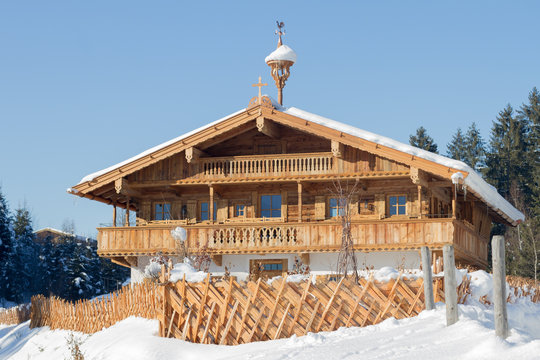 Wooden traditional farm house in Tirol