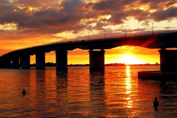 Sunset back drop for Ringling Bridge in Sarasota