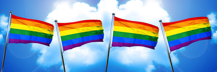 Gay pride flag, 3D rendering, on cloud background