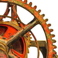 Detail of a rusty ancient church clock mechanism