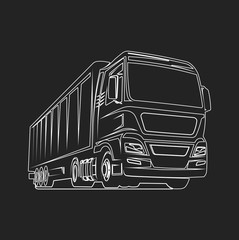 Truck cargo outline freight logo template