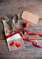Valentines day meal with blank label