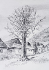 lime tree in old time mountain willage, pencil drawing on old paper.
