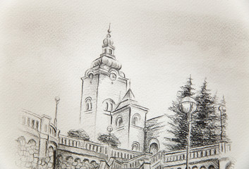 church dominant in the old town, pencil drawing on paper.