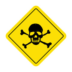 Danger sign with skull symbol. Deadly danger sign, warning sign.