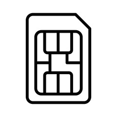 SIM card or subscriber identity / identification module chip line art vector icon for apps and websites
