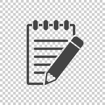 Document with pencil pictogram icon. Simple flat illustration for business, marketing internet concept on white background. Trendy modern vector symbol for web site design or mobile app