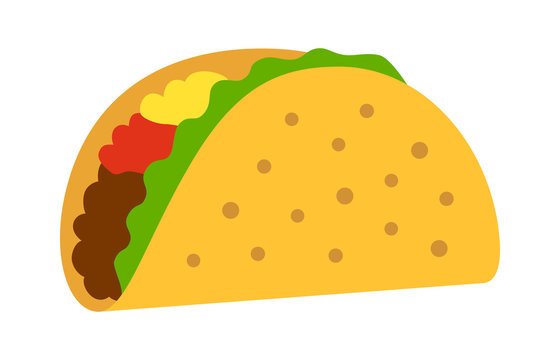 Taco with tortilla shell Mexican lunch flat color vector icon for food apps and websites