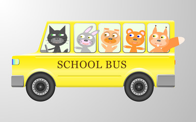 Cute animals in a bus