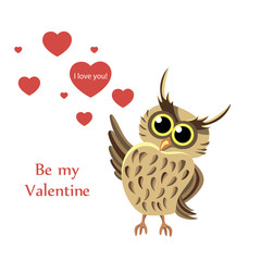 Owl with a heart. Style flat.- vector illustration