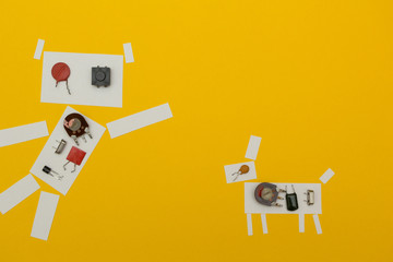 Paper robot dog on a yellow background