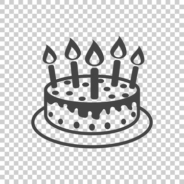Cake with candle icon. Simple flat pictogram for business, marketing, internet concept on isolated background. Trendy modern vector symbol for web site design or mobile app