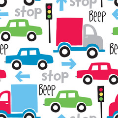 seamless car cartoon pattern vector illustration
